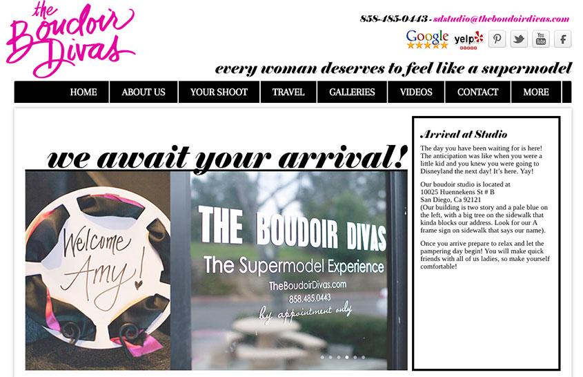 The Boudoir Divas San Diego - Arrival Sign