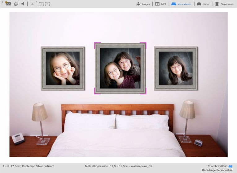 ProSelect : Présentation des photos agrandies à l'échelle dans un mur de maison de client